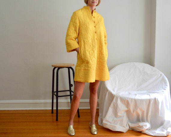 quilted yellow satin mini bell sleeve dress