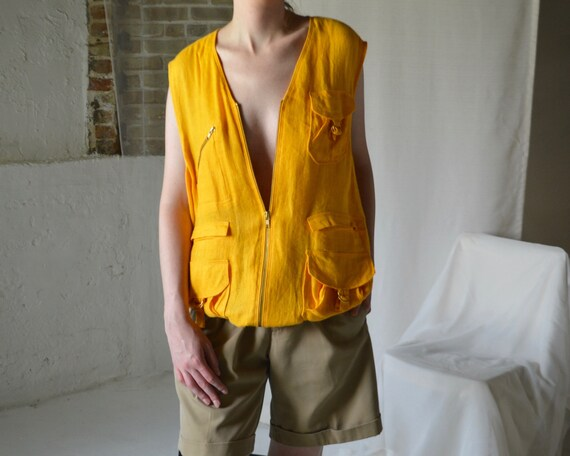 marigold linen cargo vest - image 5