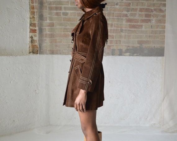 70s suede double breasted leather trench - image 4