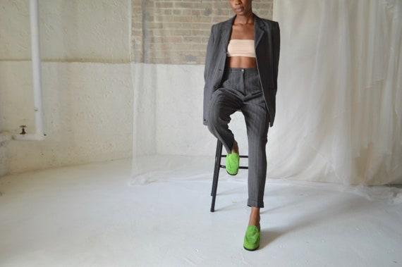 grey pinstripe womens pantsuit / boxy blazer / ple