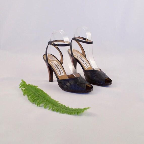 navy peep heels toe 80s leather 6 36 UaxwdS