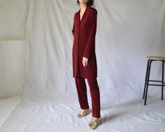micro ribbed cranberry lounge set