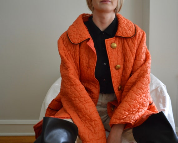 70s orange quilted peter pan collar jacket