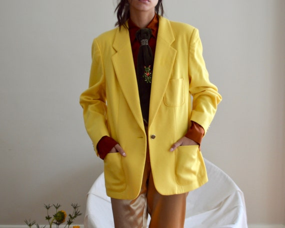 lemon yellow wool boxy blazer jacket