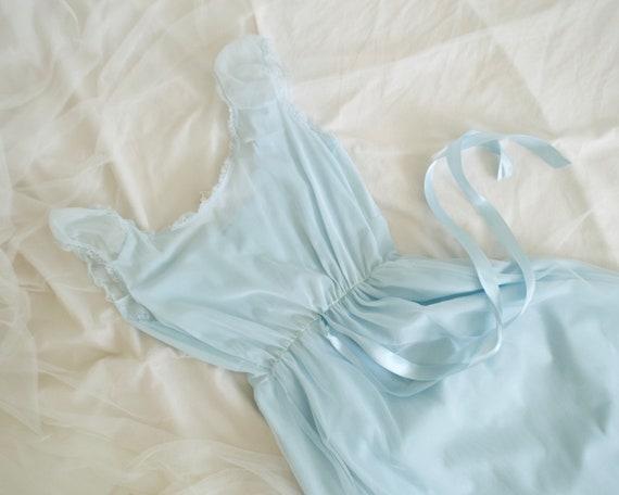 pale blue floral empire waist negligee / slip dre… - image 7
