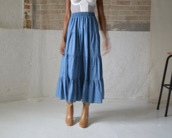 denim tiered circle skirt / ankle length skirt - image 5