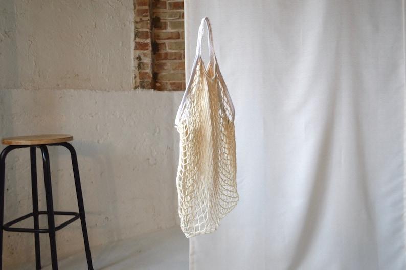 vintage cotton net market bag  slouchy bag