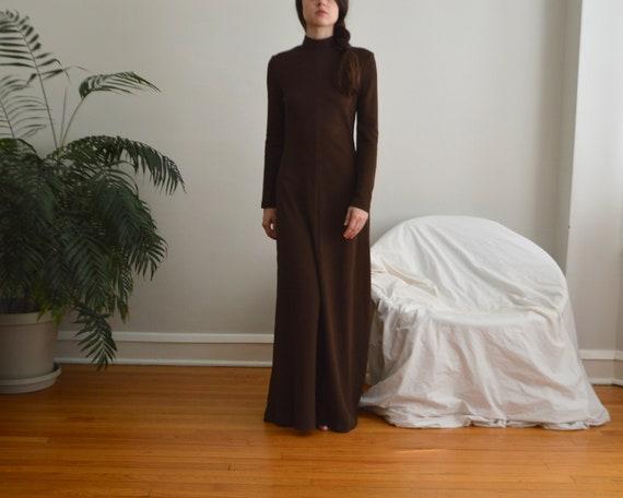 70s estevez brown microknit maxi dress - image 2