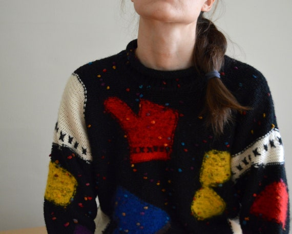 gil aimbez patchwork novelty pullover roll neck sw