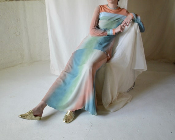 chiffon tie dye 70s maxi dress with long sheer sle