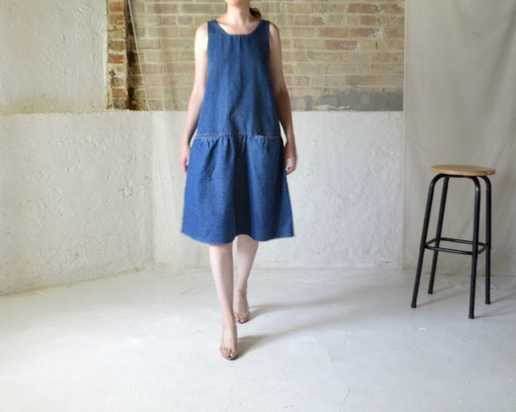 denim dropwaist jumper dress with pockets