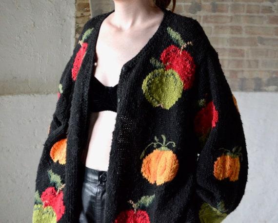 oversized handknit cotton novelty fruit print card