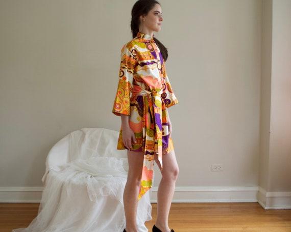 70s psychedelic shift mini dress - image 6
