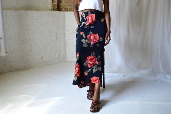 ankle grazing bias cut rose slip skirt