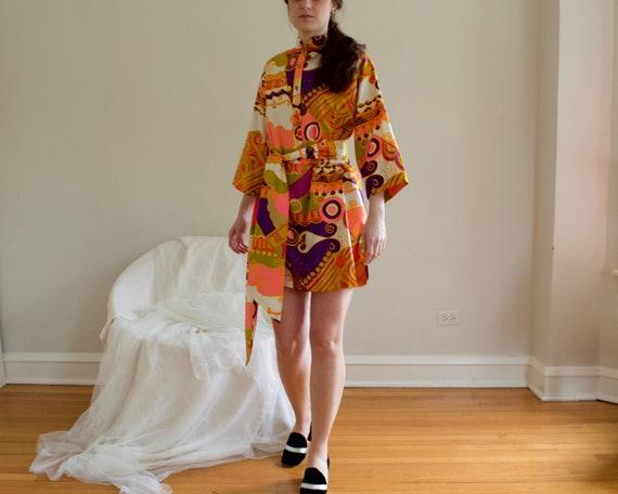70s psychedelic shift mini dress - image 7