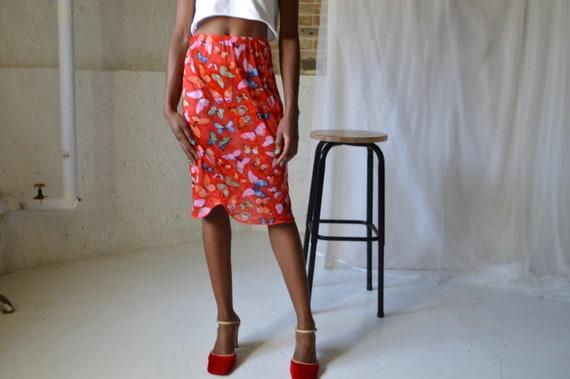 70s sheer butterfly skirt slip
