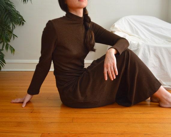 70s estevez brown microknit maxi dress