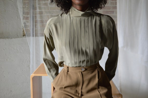 taupe silk knife pleated high neck blouse