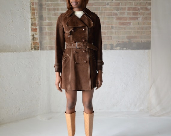 70s suede double breasted leather trench - image 2