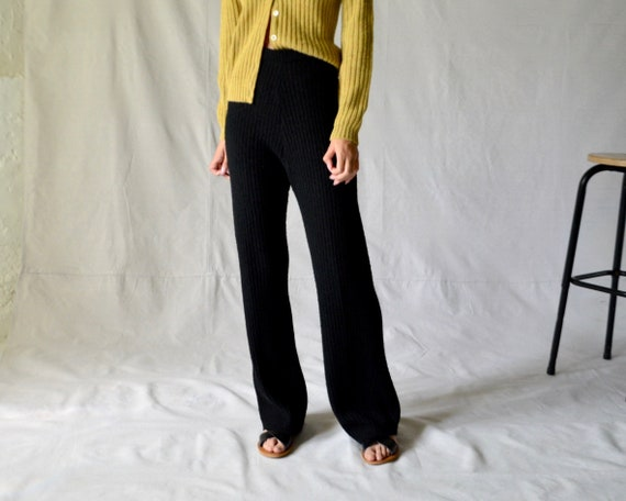 70s boucle ribbed knit wool blend lounge pants