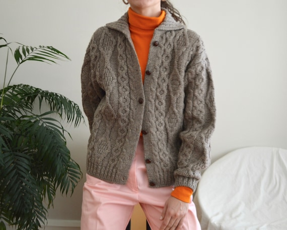 irish wool cableknit cropped fisherman cardigan