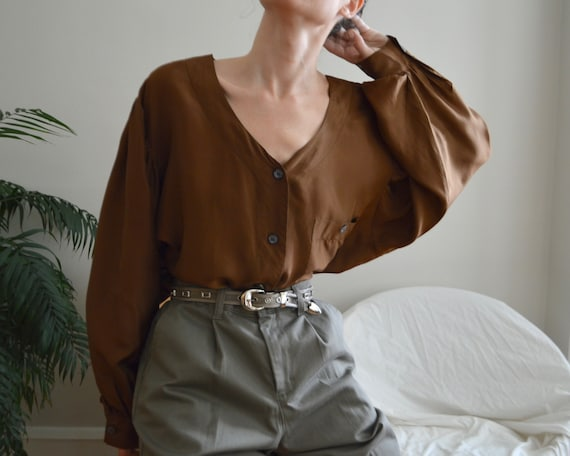 bishop sleeve silk oversized button blouse / 2x