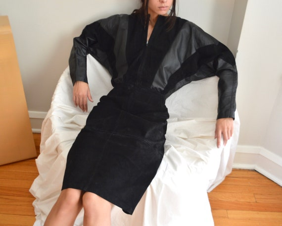 black suede dolman sleeve mid length dress