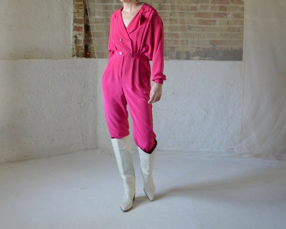 hot pink 80s utility jumpsuit