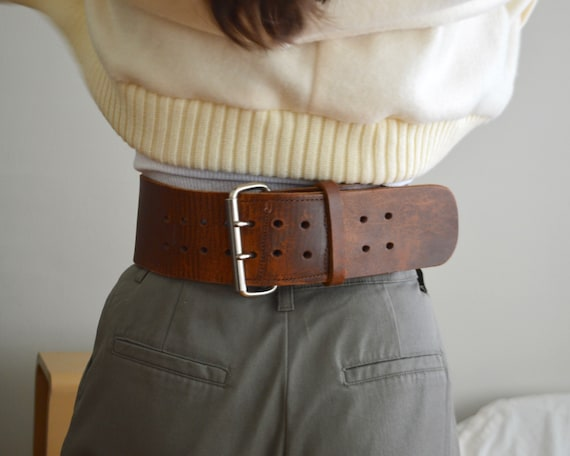 leather stamped rustic wide belt