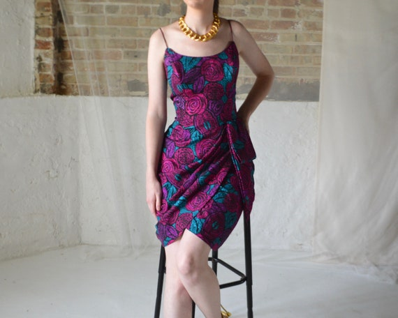 silk draped 80s spaghetti strap rose print dress