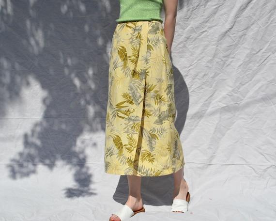 yellow silk palm print wrap midi skirt