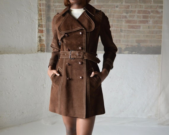 70s suede double breasted leather trench