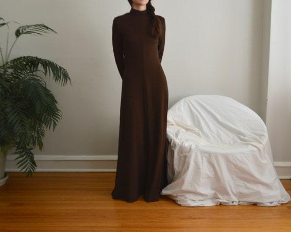 70s estevez brown microknit maxi dress - image 3