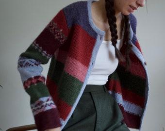 wool striped fair isle cardigan sweater