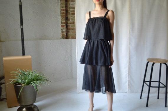 ruffled tiered sheer black spaghetti strap dress