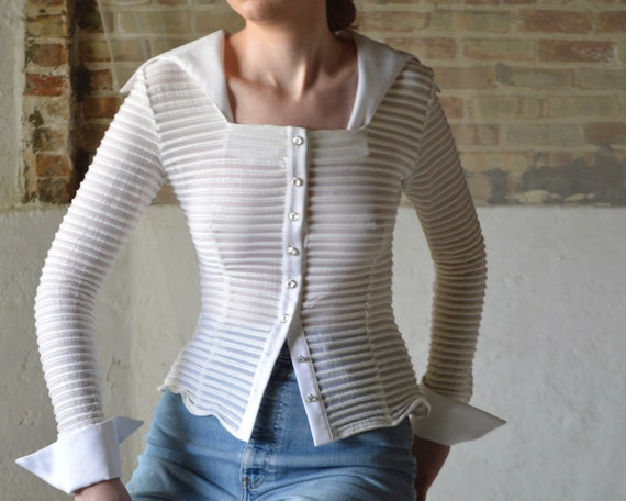 white ribbed sheer mesh button blouse with square