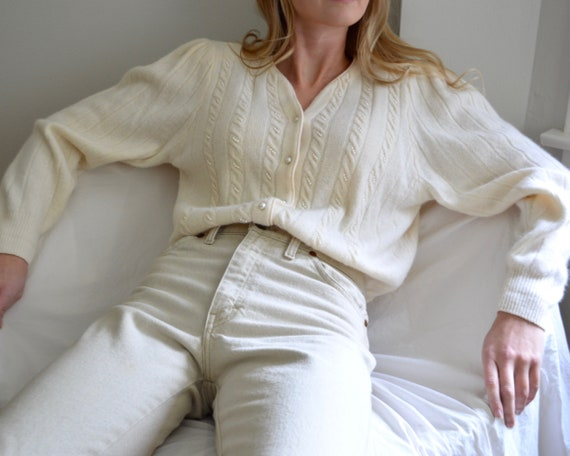 cream lambswool and angora cableknit puff sleeve c