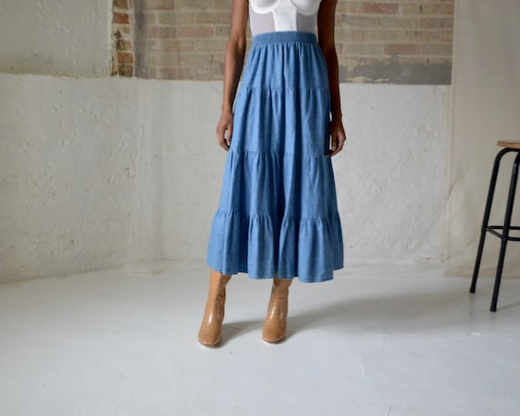 denim tiered circle skirt / ankle length skirt - image 6