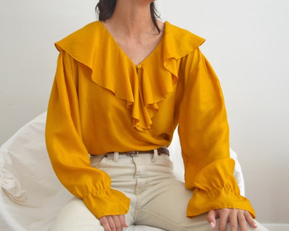 marigold silk ruffle ballow sleeve blouse - image 1