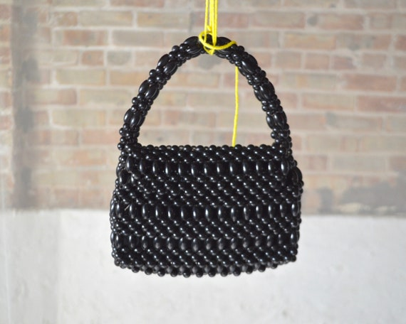 vintage black beaded mini purse