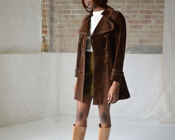 70s suede double breasted leather trench - image 7
