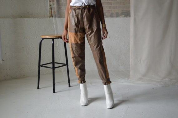 leather and suede patchwork buckle ankle trousers