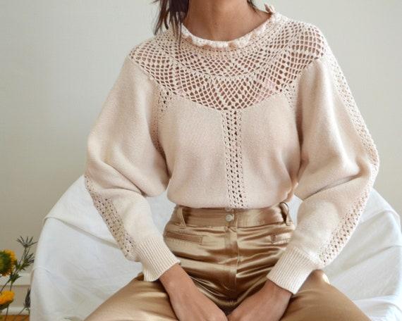 blush pink cotton blend crochet pullover sweater