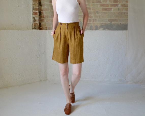 linen pinstripe mustard brown bermuda shorts / 26w