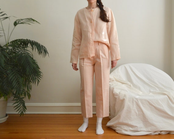 pink linen pleated pant set