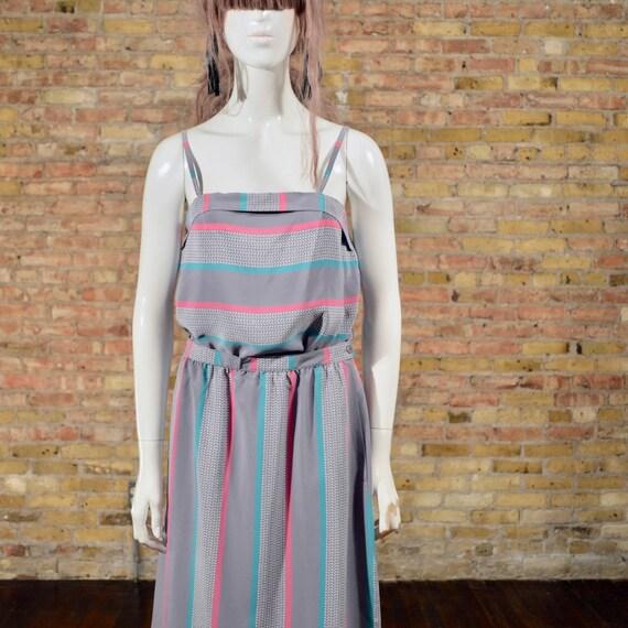set sasson two sasson vintage skirt and grey pastel top midi summer dress dress geometric piece matching set skirt dress 77Tnadrq