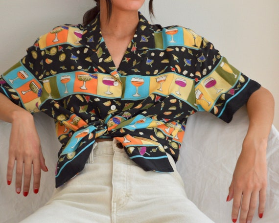 silk novelty cocktail short sleeve boxy blouse