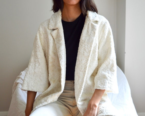 cream chenille tapestry swing coat