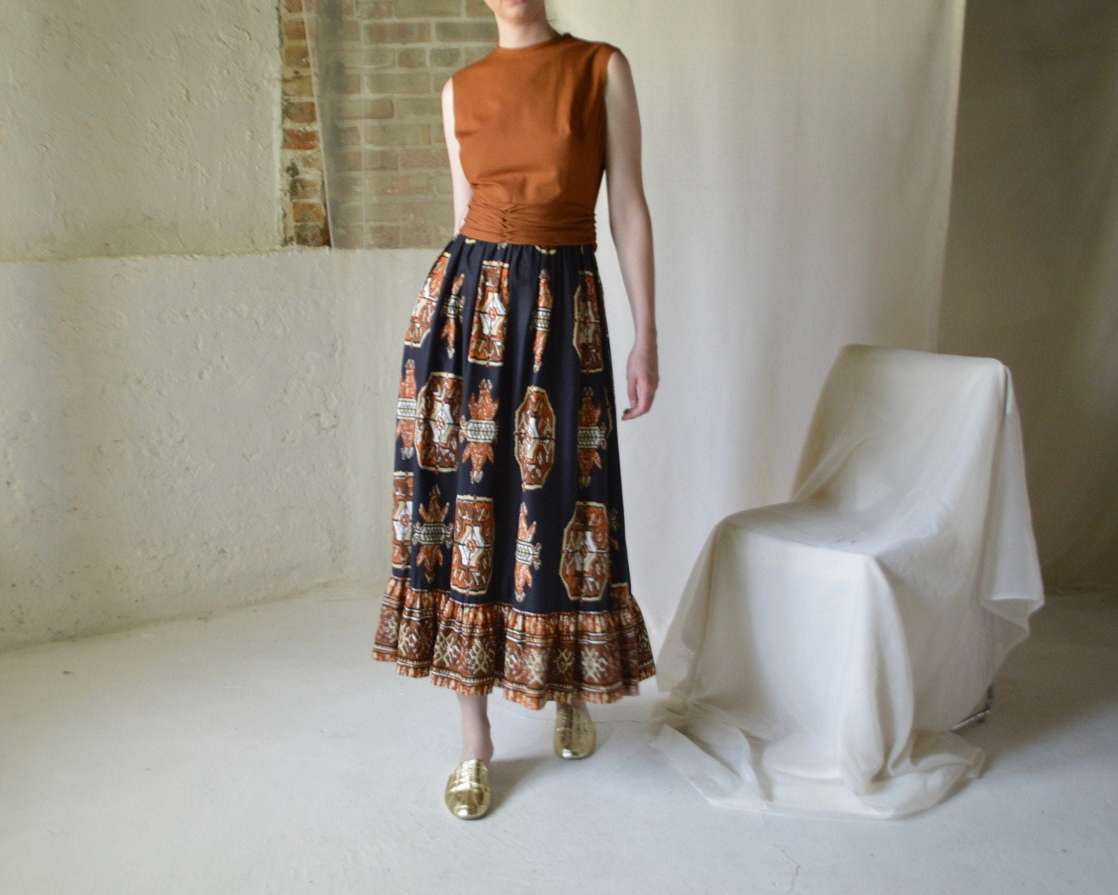 Vintage Scarf Styles -1920s to 1960s 70S Ruffled Southwest Print Maxi Dress $165.00 AT vintagedancer.com