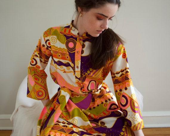 70s psychedelic shift mini dress - image 4